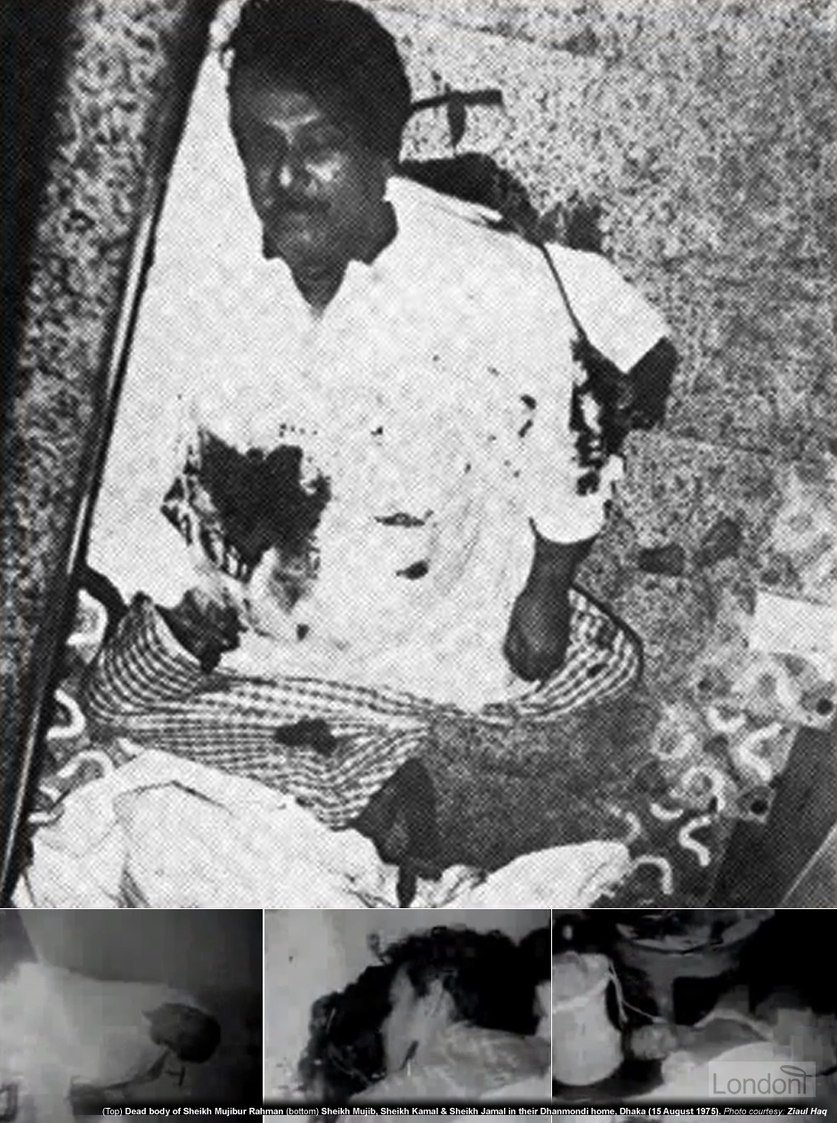 Sheikh Mujibur Rahman lying dead on the steps of his Bongobondhu Bhaban on Road No. 32, Dhanmondi, Dhaka