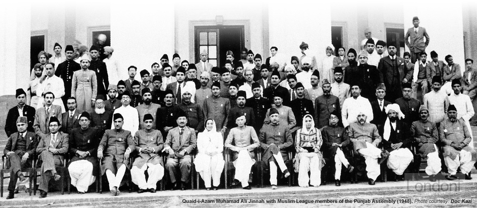 Muhammad Ali Jinnah with Muslim League members of the Punjab Assembly (1948)