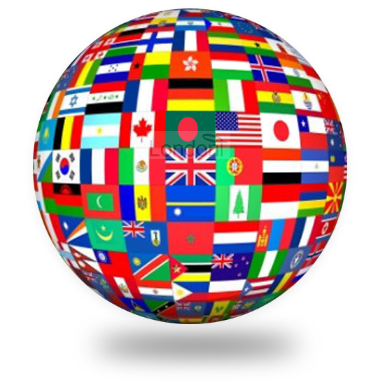Globe made up of flags around the world