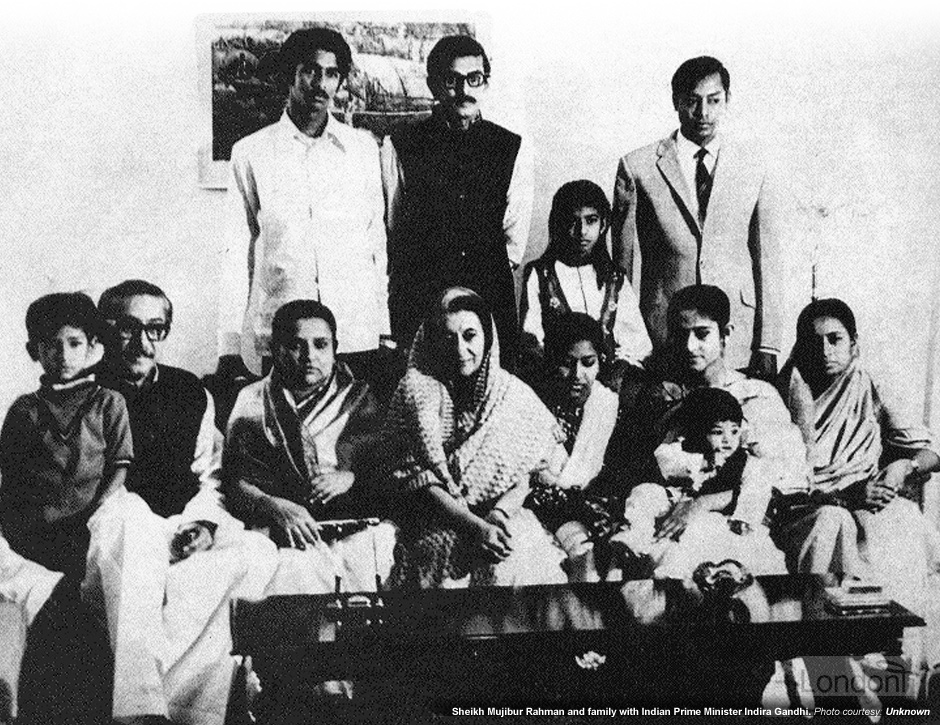 Sheikh Mujibur Rahman and family with Indira Gandhi