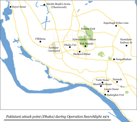 Map showing Pakistan attack point in Dhaka during Operation Searchlight, 1971